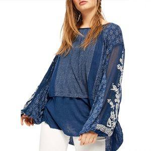 free people indigo dreams oversized tunic small